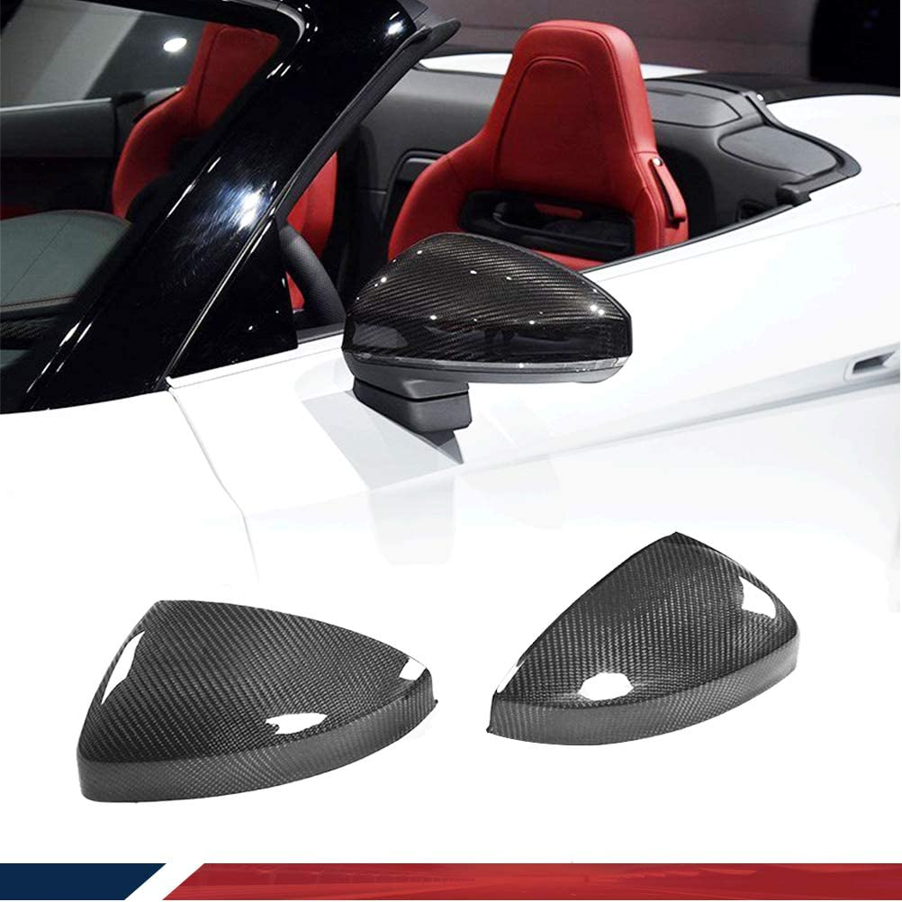 with Side Lane Assist jcsportline fits Audi TT TTS TTRS MK3 Type 8S Coupe 2Door 2015-2019 Replacement Carbon Fiber Side Mirror Cover Cap CF Rearview Overlay