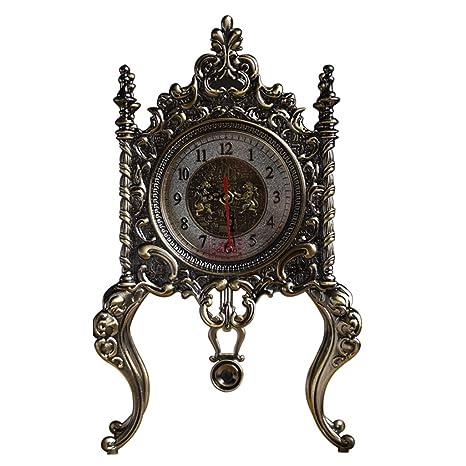 SESO UK- Reloj de Mesa Antiguo de Europa Mantla Relojes Decorativos silenciosos del Escritorio silencioso