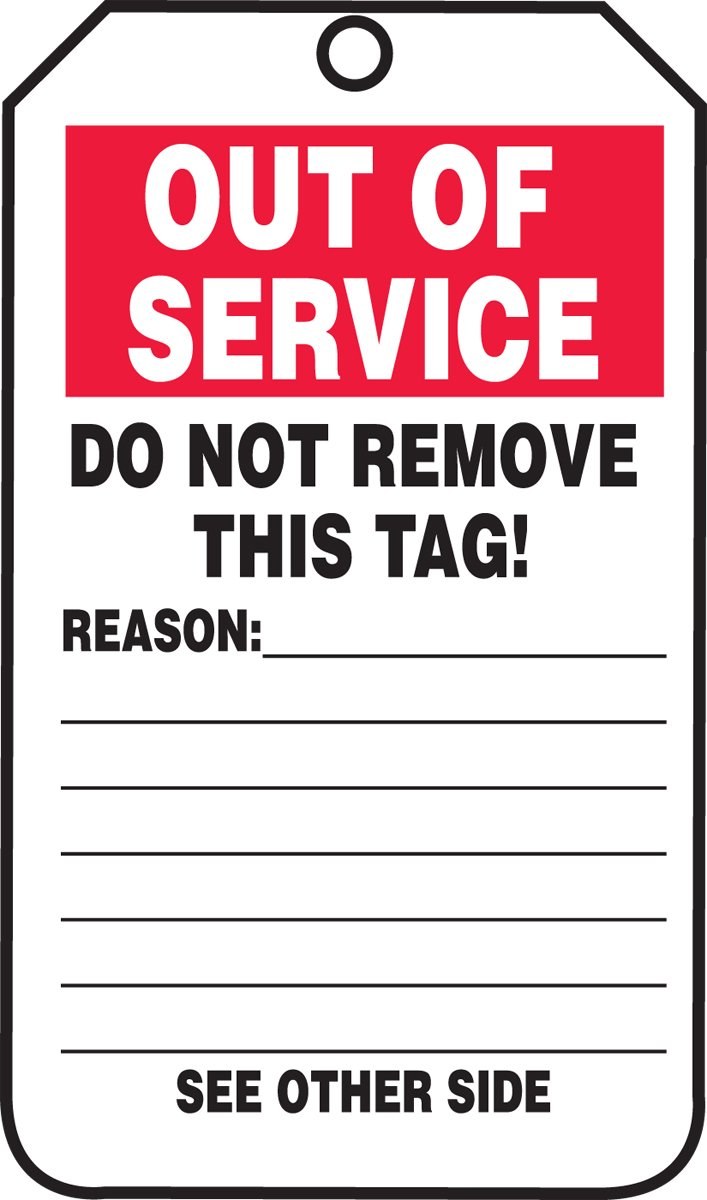 LegendOut of Service Pack of 5 LegendOut of Service 5.75 Length x 3.25 Width x 0.015 Thickness 5.75 Length x 3.25 Width x 0.015 Thickness Accuform TRS243PTM RP-Plastic Inspection /& Status Record Tag Red//Black on White