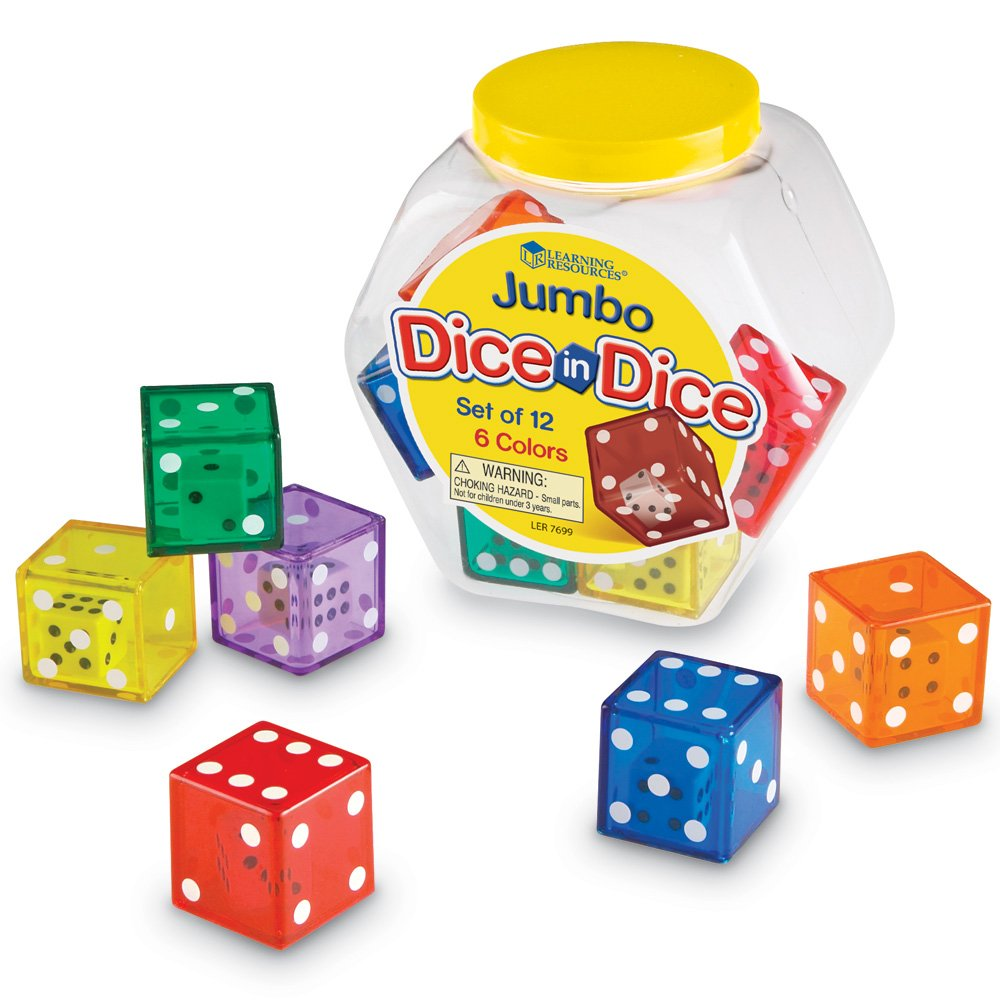 Set of 12 Learning Resources Jumbo Dice in Dice