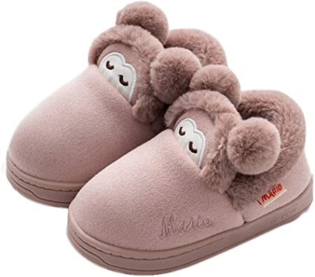 Little Kids Warm Slippers Toddler Animal Furry Comfy Slipper Girls Boys Cute Winter Indoor Household Shoes