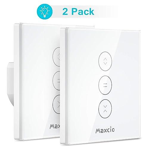 LED Controlable WiFi Interruptor Persiana Maxcio Interruptor Inteligente Compatible con Alexa y Google Home Control de APP y Función de Temporizador para Motor Persiana Motor de Obturador