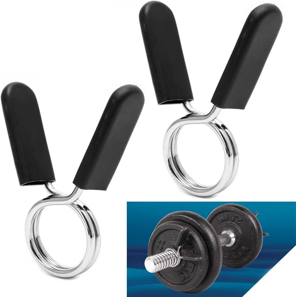 qingqingR 2Pcs 30mm Barbell Gym Barra de Levantamiento de Pesas Dumbbell Lock Clamp Spring Collar Clips