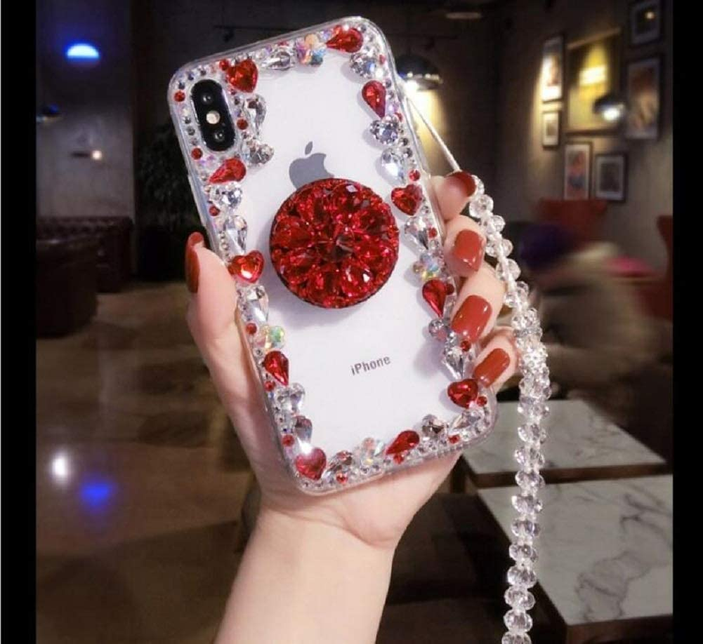 Black Amocase Diamond Clear Case with 2 in 1 Stylus for Samsung Galaxy A6 2018,Luxury Girly 3D Handmade Gemstone Soft Rubber Bumper Ring Stand Holder Bling Case with Crystal Neck Lanyard