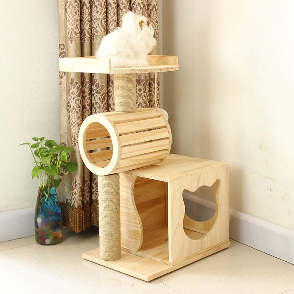 Árboles para gatos Consola de árbol de Gato de Madera Maciza Poste de raspado Recubierto de sisal, Centro de Actividades Torre de Gato, Muebles para Gatitos ...