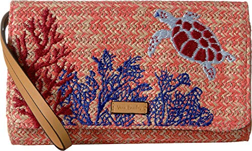(Vera Bradley Women's Straw Beach Wristlet Scarlet Coral One Size)