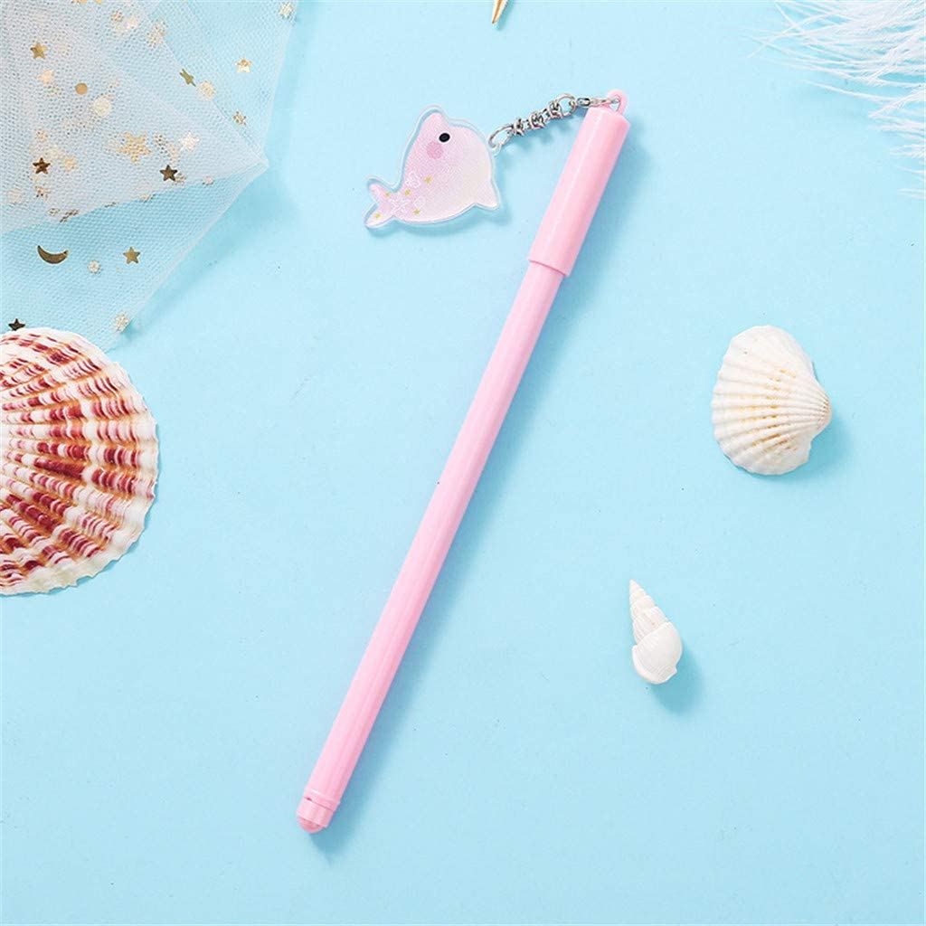 Weisfe78 1 Pc Newest Cute Kawaii Crazy Dolphin Pendant Writing Animal Cartoon Gel Pen with 0.55 mm Point Black Ink Stationery Office Supplies Ballpoint For School Student Kids Birthday Gift Set