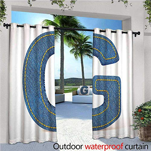 Shimmer Stitch (Letter G Balcony Curtains Modern Denim Font Typeset Character Jeans Cloth with Stitches Uppercase Print Outdoor Patio Curtains Waterproof with Grommets W96 x L84 Blue Yellow)