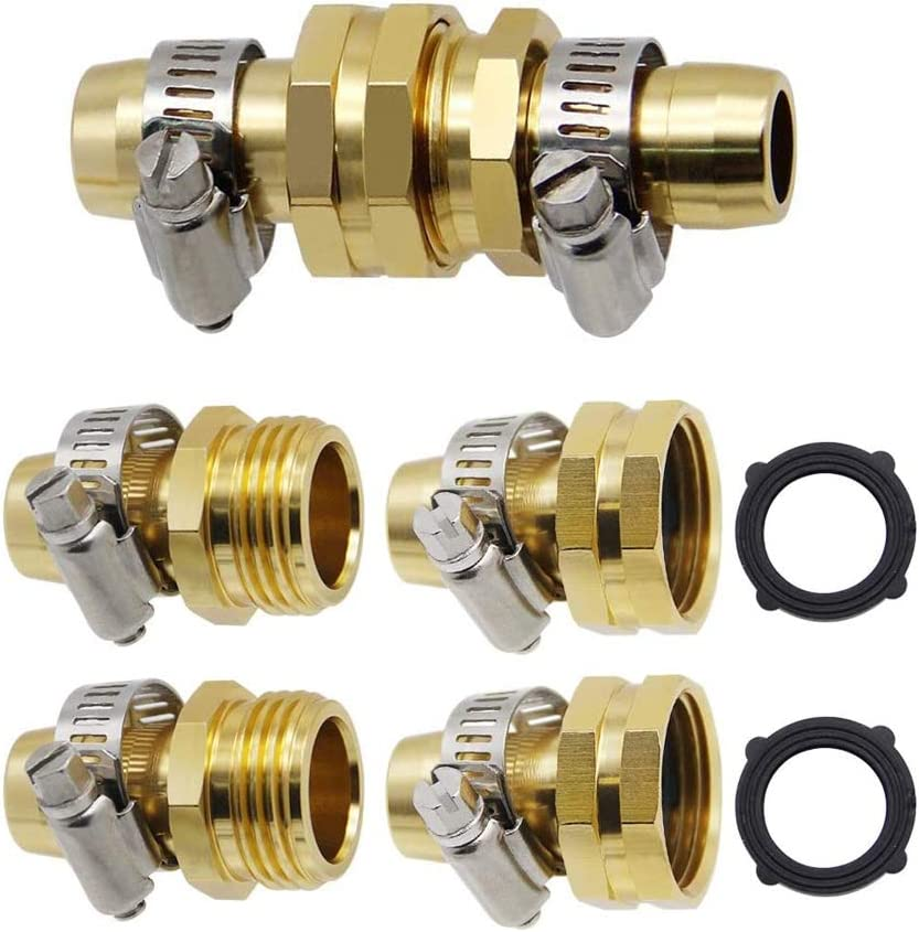 POLARHAWK Garden Hose Repair Connector with Clamps,3 Sets Brass Garden Hose Repair Kit,Water Hose Mender Male Female Connector with Stainless Clamp (3/4-5/8)