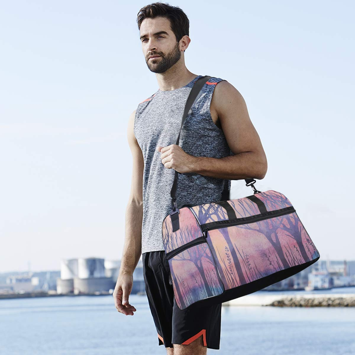 Vacation Travel Duffel Bag Purple Forest Waterproof Lightweight Luggage bag for Sports Gym