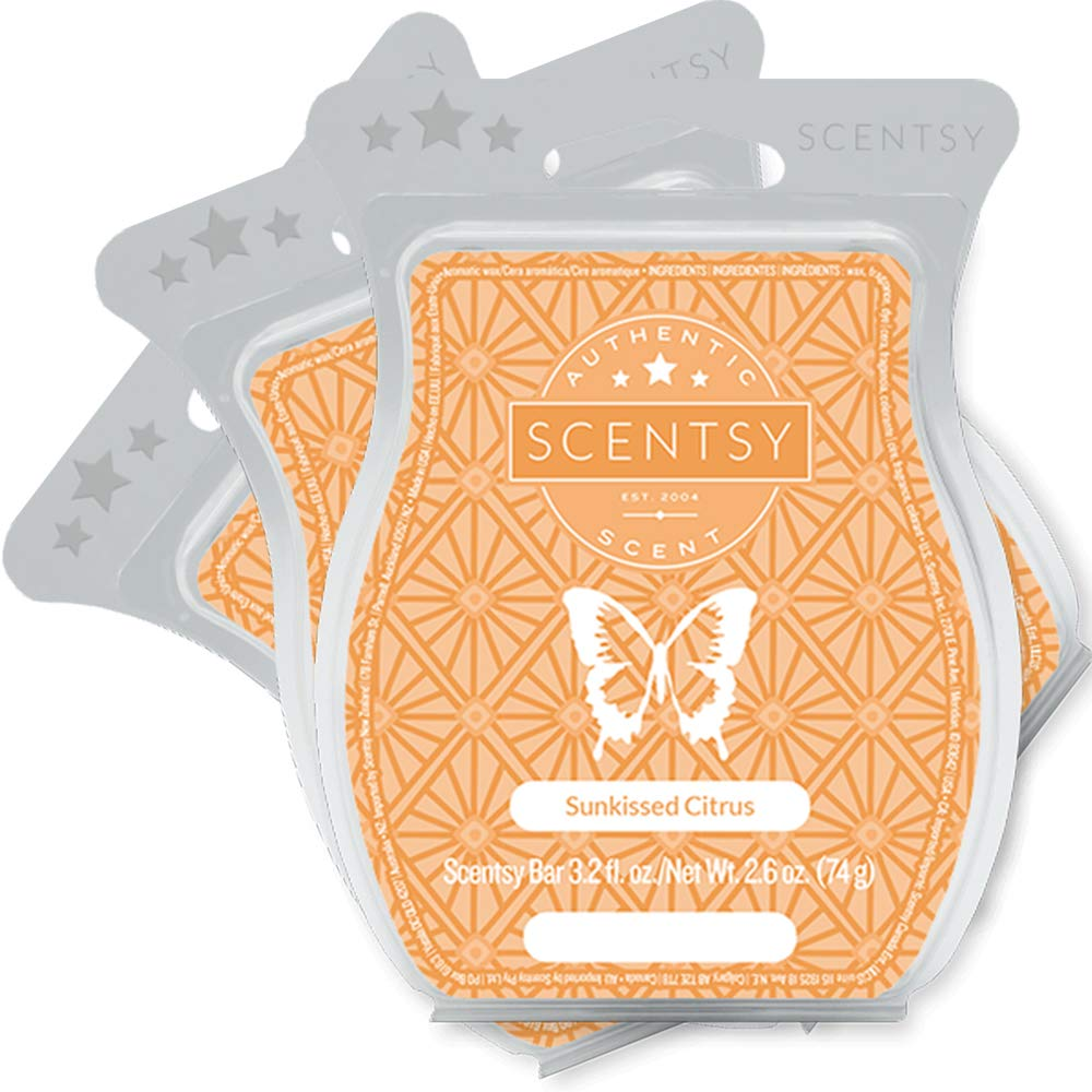 Scentsy, Sunkissed Citrus, Wickless Candle Tart Warmer Wax 3.2 Oz Bar, 3-pack (3)