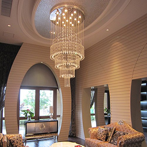 Moooni Large Modern Luxury Crystal Chandelier Lighting for Living Room Porch Hallway D 36'' x 71'' H