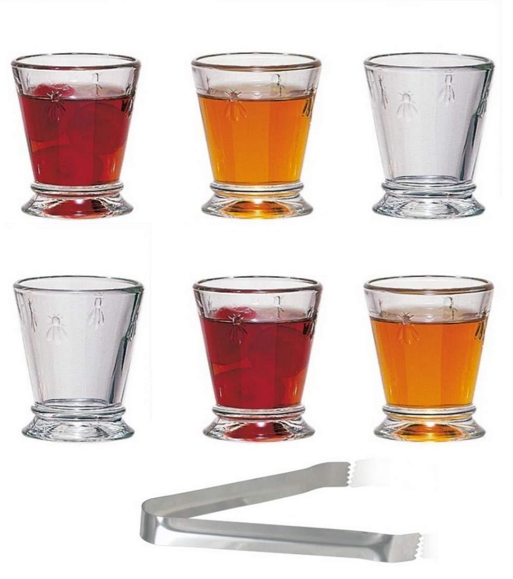 La Rochere Napoleon Bee Shot Glasses Set of 6 - 2 Ounce Clear tumbler - Ideal for Whiskey, Liquor, Scotch, Vodka - Durable Entertainment Glassware - Home bar Bachelors Party gift - Bonus: 6'' Ice Tongs