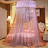 Lustar Court Style Mosquito Net Bed Canopy For Children Fly Insect Protection Indoor Decorative Height 270cm Top Diameter 1.2m For 1-2m Bed,Beige