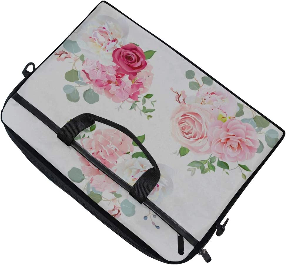 Briefcase Messenger Shoulder Bag for Men Women College Students Business People Office Workers Laptop Bag Bouquets Rose Peony Camellia Hydrangea Eucalyptus 15-15.4 Inch Laptop Case