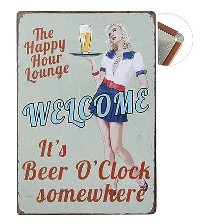 Cartel de chapa Vintage Placas Decorativas Póster Metal Pared Decoración de Arte para Cafe Bar Restaurante Pub Cocina, Serie de Cerveza (Welcome)