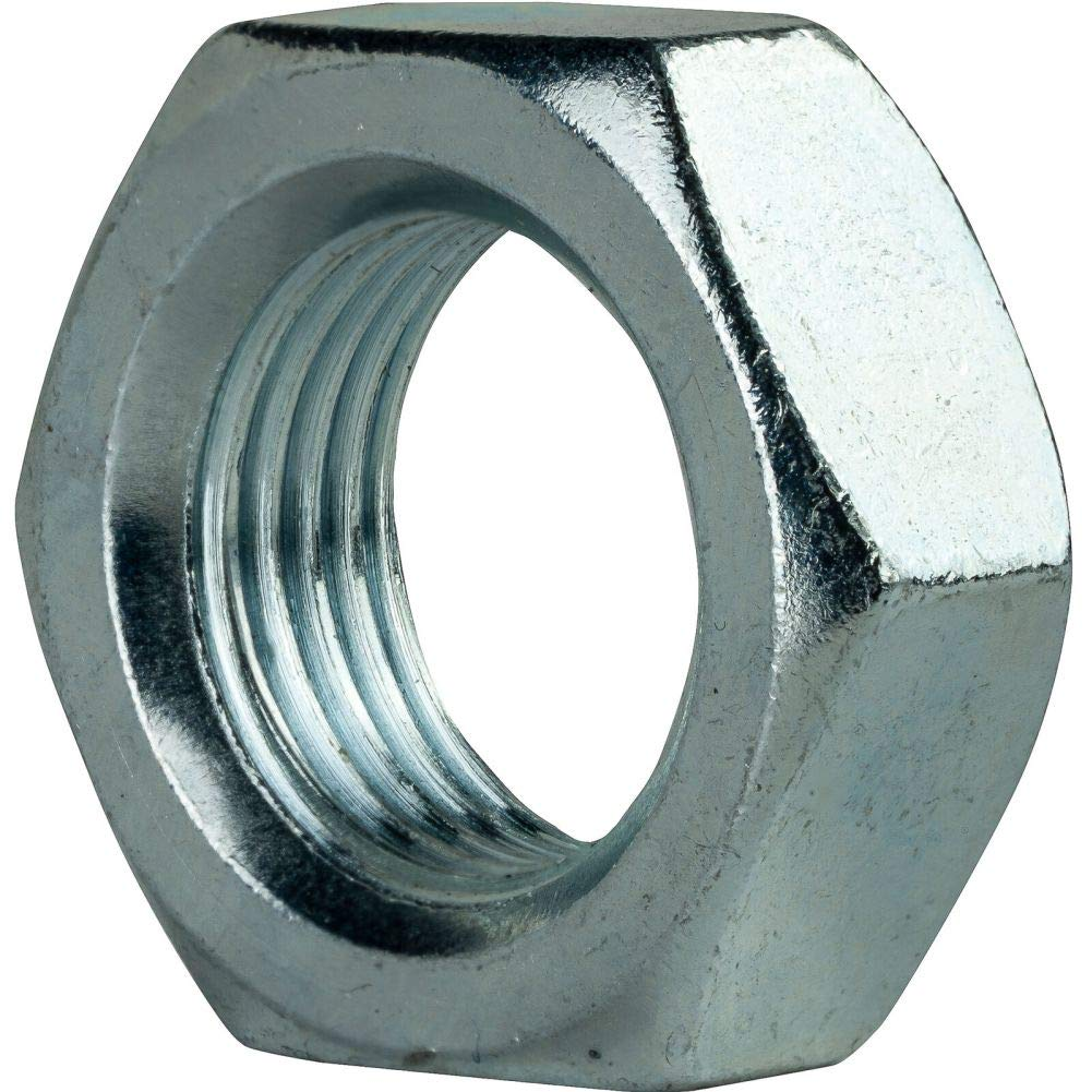 1''-8 Thin Hex Jam Nuts Grade 2 Steel Electro Zinc Plated Qty 50 by Hontools