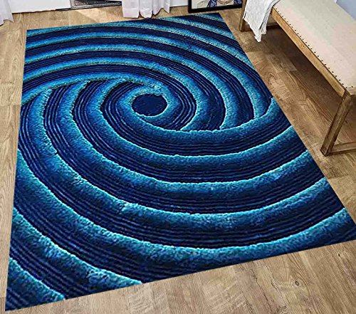 8-Feet-by-10-Feet Pile Rug Fluffy Fuzzy Modern Home Store 3D Kitchen Outdoor Indoor Bedroom Living Room Throw Carpet Floor Shag Rug Light Blue Dark Blue Sky Blue (Exotic TD 252 Blue)