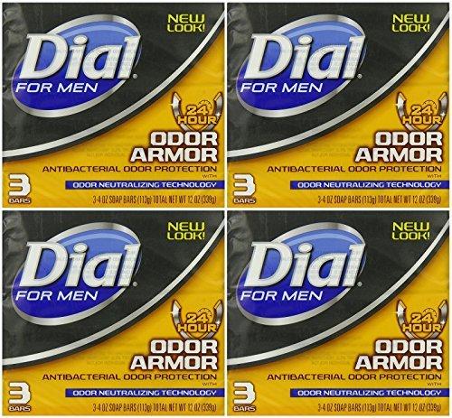 Dial for Men Odor Armor Antibacterial Soap, 3 Count, 4 Ounce (Pack of 4) 12 Bars Total