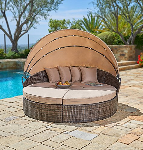 Suncrown Outdoor Furniture Wicker Daybed With Retractable