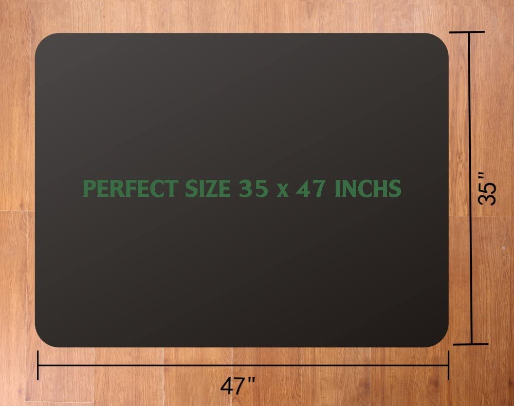 Office Chair Mat for Hardwood and Tile Floor, Black, Anti-Slip, Non-Curve, Under the Desk Mat Best for Rolling Chair and Computer Desk, 47 x 35 Rectangular Non-Toxic Plastic Protector, Not for Carpet : Office Products