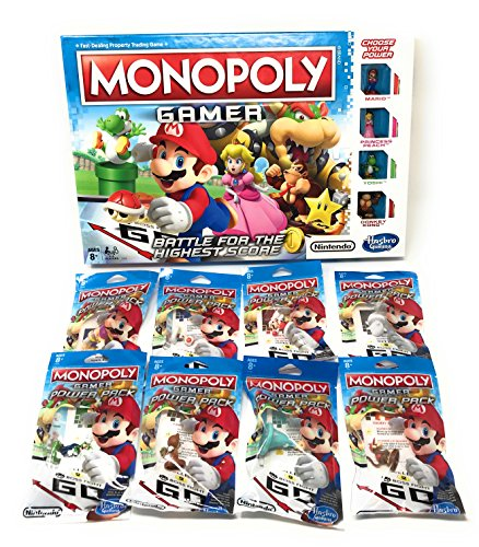 Monopoly Gamer Mario Brothers Bundle With Complete Set Of 8 Power Pack Figures (Monopoly Set)