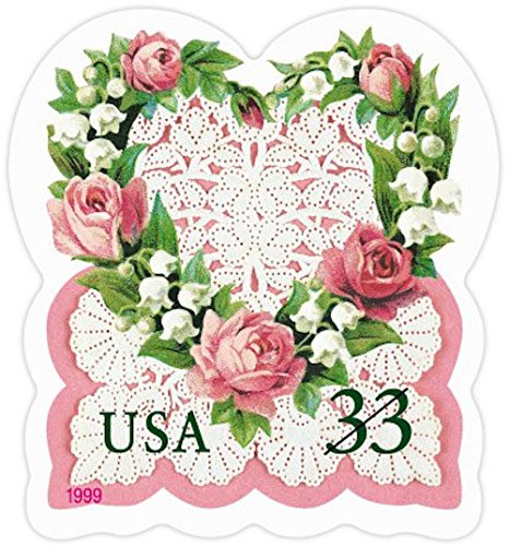 Love: Victorian Heart with Roses, Lily of the Valley and Lace, Full Convertible Booklet of 20 x 33-Cent Postage Stamps, USA 1999, Scott - In Co Stores Loveland