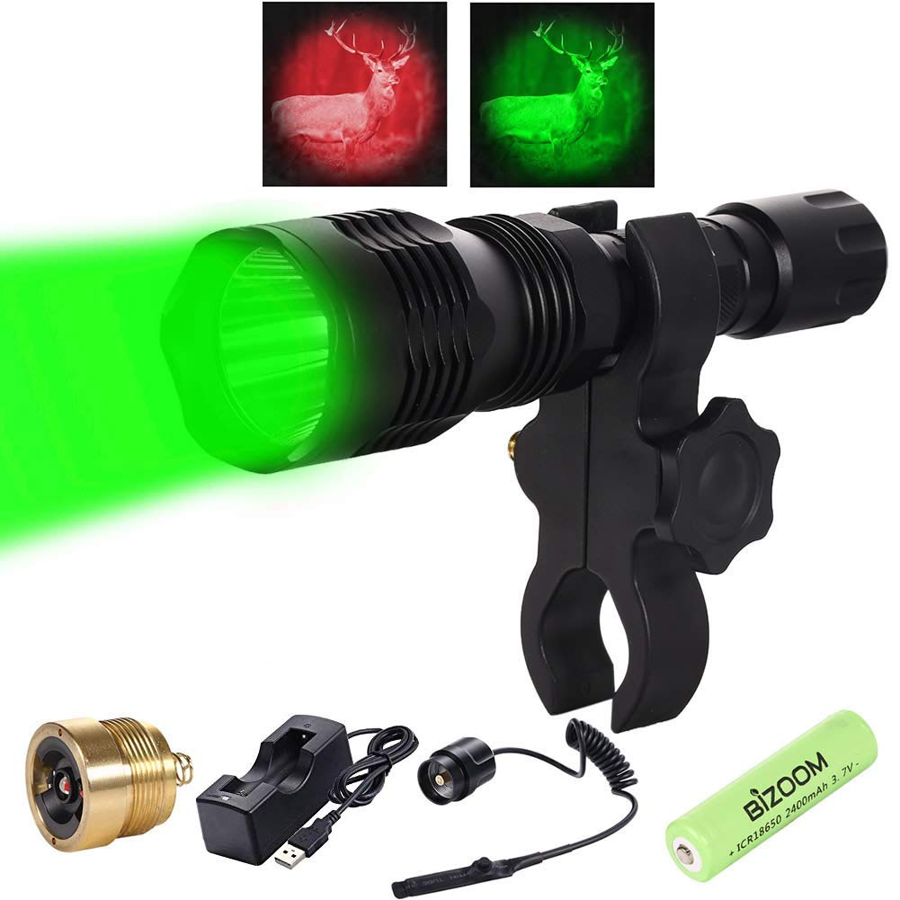 Bizoom Hunting Flashlight Long Distance Red Green Light Water Resistant Tactical Night Hunting Light for Hog Fox Coyote Rifle Lamp Torch Included 18650 Battery and Charger by Bizoom
