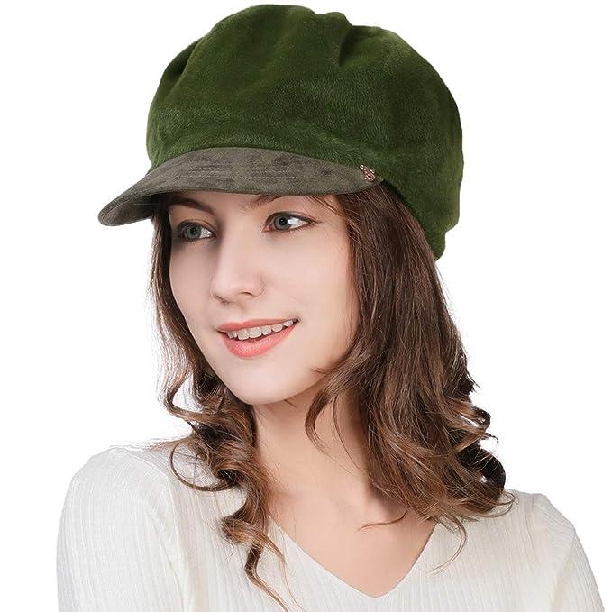 26b1edaaefeff Womens Winter Newsboy Cap Visor Beret French Paperboy Painter Hat Olive  Green