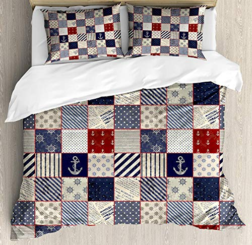 (SINOVAL Patchwork Duvet Cover Set King Size, Checkered Pattern with Old Nautical Design Elements and Grunge Effect,Fashion 3 Piece Bedding Set with 2 Pillow Shams, Navy Blue Ruby)