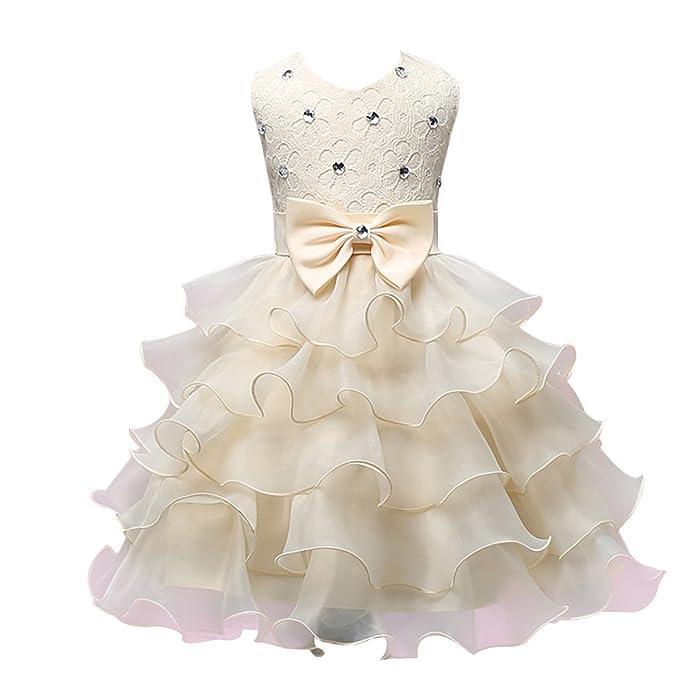 ff8062ffc06e Vestito cerimonia bambina OULII Abito con fiocco e strass per bimbe di 70  cm in Giallo chiaro  Amazon.it  Abbigliamento