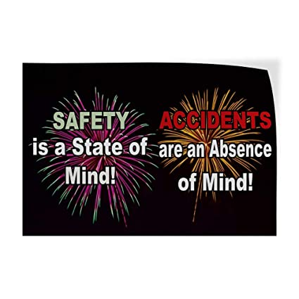 Set of 5 27inx18in Decal Sticker Multiple Sizes Safety is A State of Mind Black Lifestyle No Accident Outdoor Store Sign Black
