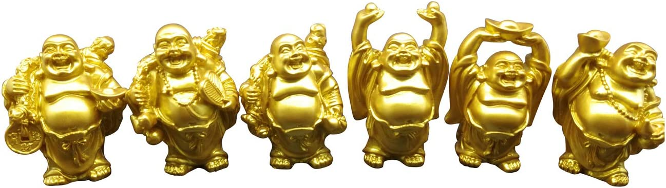 Laughing Buddha Resin Figurines Golden 2.7'' Good Birthday Gift Home Decoration Office Collection Set of 6