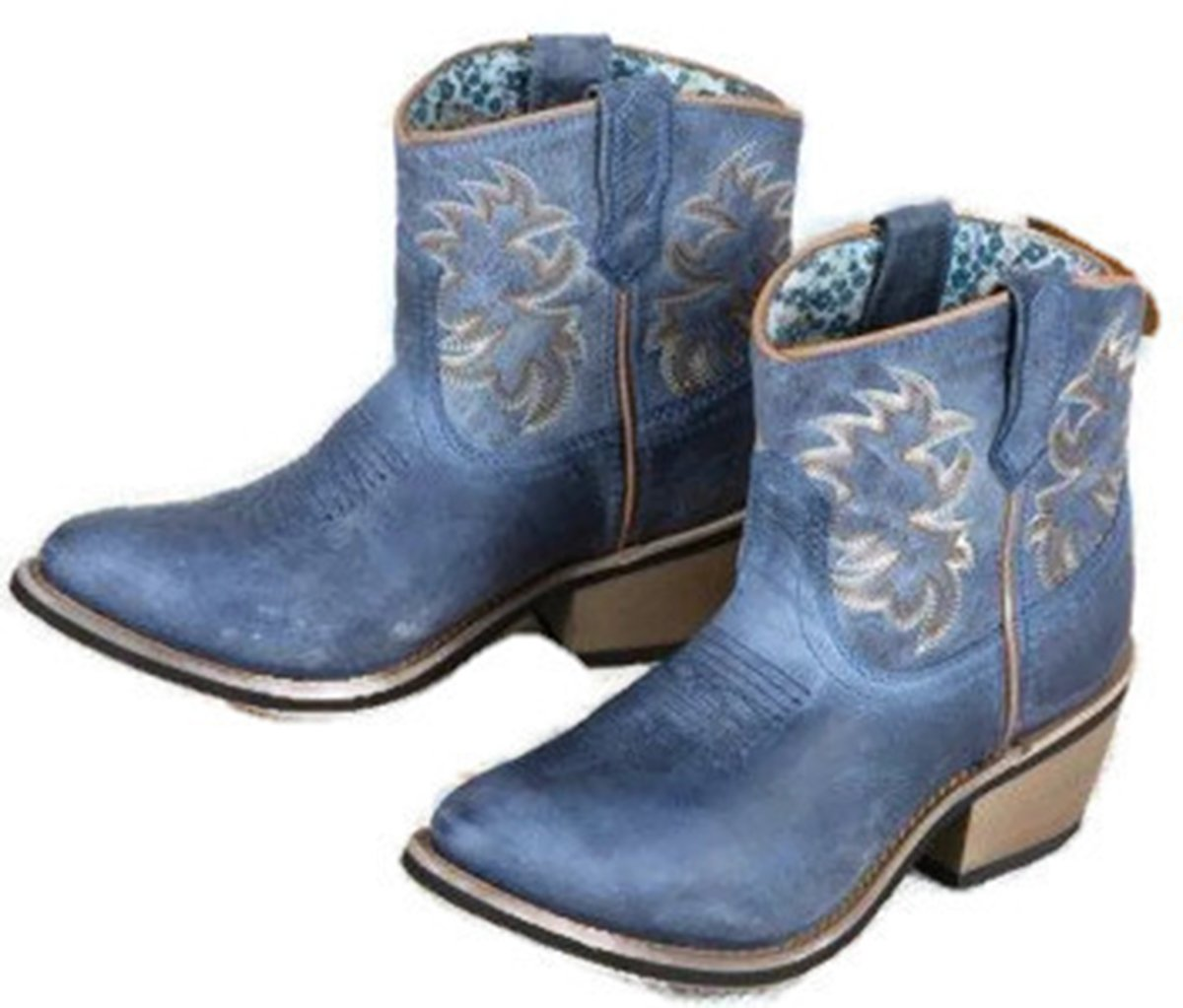 Laredo Women's Sapphyre Leather Western Booties Round Toe - 51026 B01LZGAEXG 10 M US|Navy
