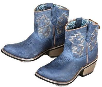 6ee729aa94c Laredo Women s Sapphyre Leather Western Booties Round Toe Navy ...