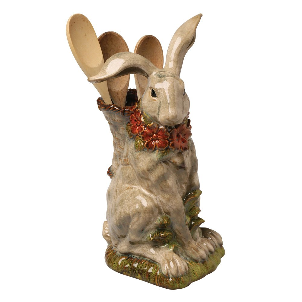 Porcelain Sculpted Rabbit Utensil Holder - Kitchen Crock Flower Vase