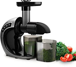 CHULUX Juicer, Slow Masticating Juicer for High Yield and More Nutrients Under Cold Press juice & Spiral Masticating System,Low Noise Juicer Extractor with Reverse Function and Easy to Clean,150-Watt,Silver