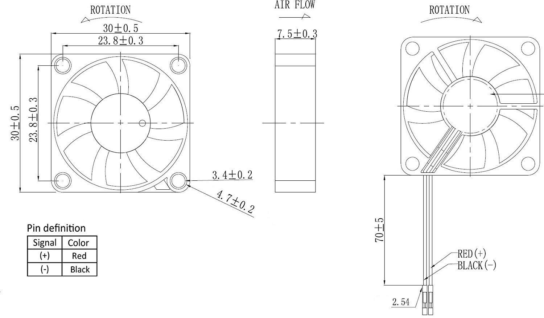 Ventilador Raspberry Pi Brushless 3.3V 5V DC Ventilador silencioso para Raspberry Pi 3 B + Pi 3 B Pi 2 RetroFlag NESPI Case Pi B + G-hawk Ventilador Raspberry Pi 30x30x7mm