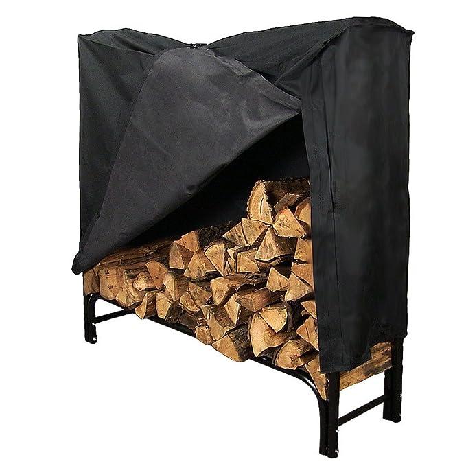 Amazon.com: sunnydaze Leña Leña rack, Negro ...