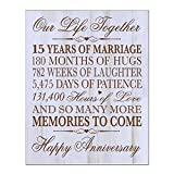 LifeSong Milestones 15th Wedding Anniversary Gift for Couple,custom 15th Anniversary Gifts for Her,15th Wedding Anniversary Gifts for Him Special Dates to Remember, By (Distressed White)
