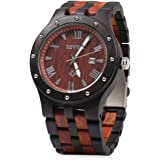 Bewell W109A Men Wooden Quartz Watch Round Dial Analog Handmade Wood Wristwatch
