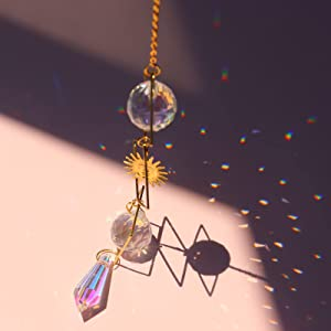 Crystals Pendant Sun Catcher Rainbow Hanging Ornament Craft for Home Office Garden Porch Window Car Charms Holiday Wedding Party Colorful Decoration Modern Design (G)
