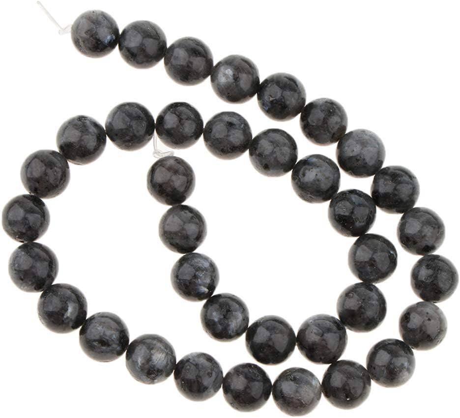non-brand Preciosa Piedra Hecha a Mano Suelta Perlas Redondas DIY Brazaleye Collar Adorno - Negro, 10mm