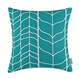 CaliTime Canvas Throw Pillow Cover Case for Couch Sofa Home Decoration Modern Chevron Stem Panels Geometric 18 X 18 inches Teal