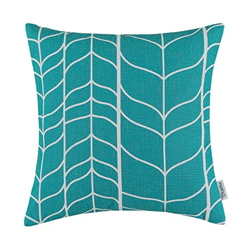 Pillow Geometric Print (CaliTime Canvas Throw Pillow Cover Case for Couch Sofa Home Decor, Modern Chevron Stem Panels Geometric, 18 X 18 Inches, Teal)
