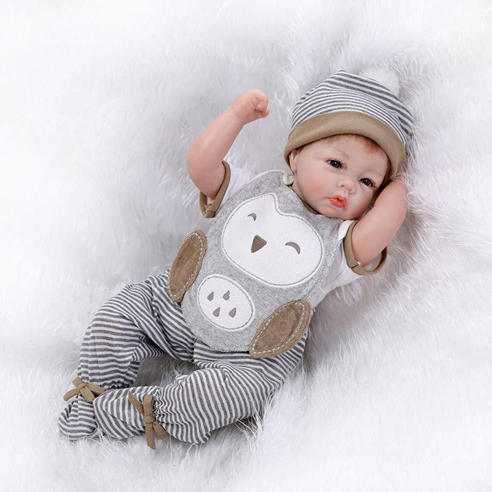 HOOMAI lebensecht 22 Zoll 55 cm Silikon Vinyl Reborn Babys Puppen Junge Wie Echt mit Augen zu Billig Magnetismus Spielzeug Kinder Geburtstag Geschenk