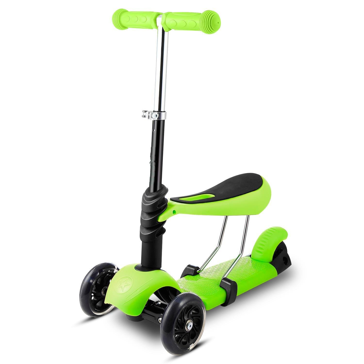 (US STOCK)Pesters 3-Wheel Kids Mini Kick Scooter, 3-in-1 Scooter with Removable Seat Adjustable Handlebar LED Flashing Wheels