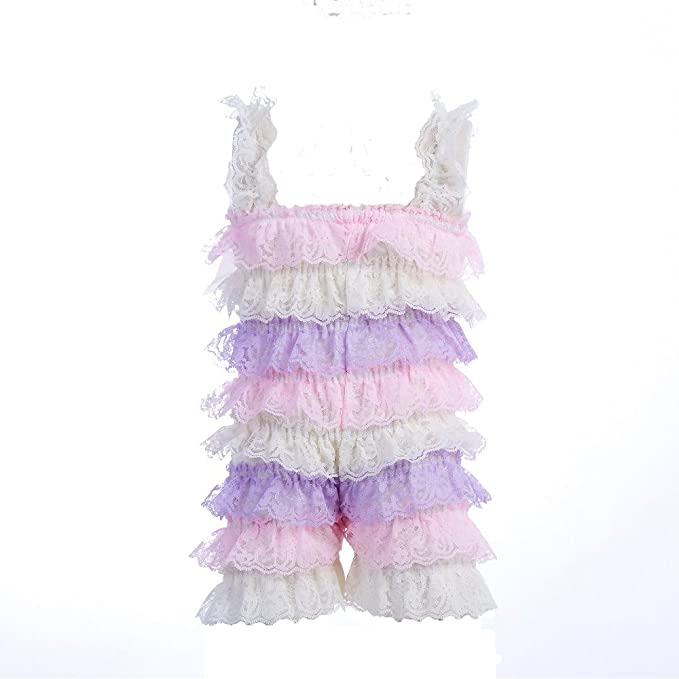 48bb2c1b979 Amazon.com  Baby Girls Bowknot Lace Folds Romper and Headband Infant  Clothes  Clothing