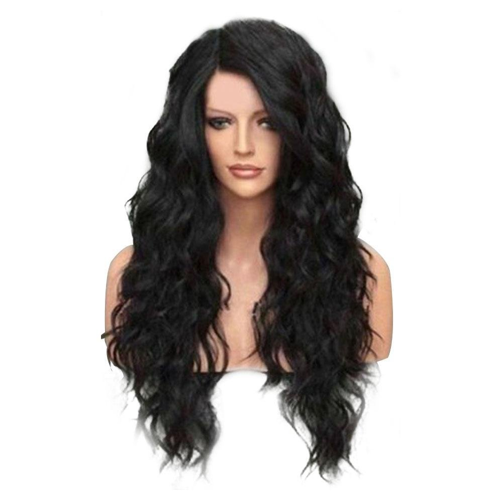 Women's Fashion Long Middle Part Shaggy Big Wavy Synthetic Wig Human Hair Wig Full Wig