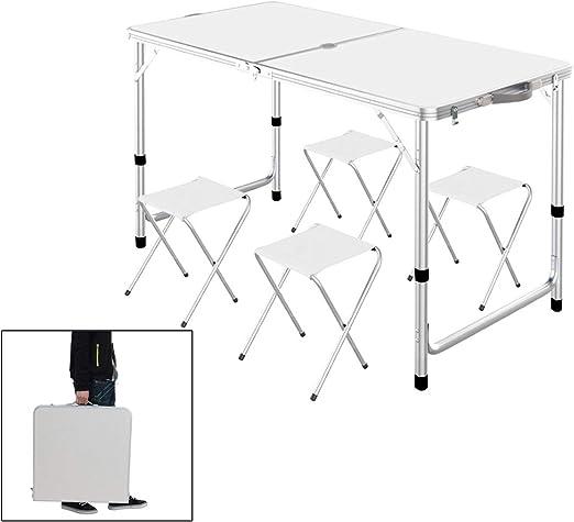 Aluminum Folding Portable Camping Picnic Table Stool Chair Set W// Umbrella hole